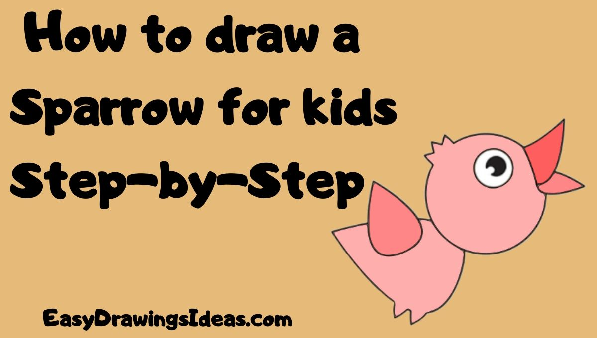 How to draw a Sparrow for kids Step-by-Step
