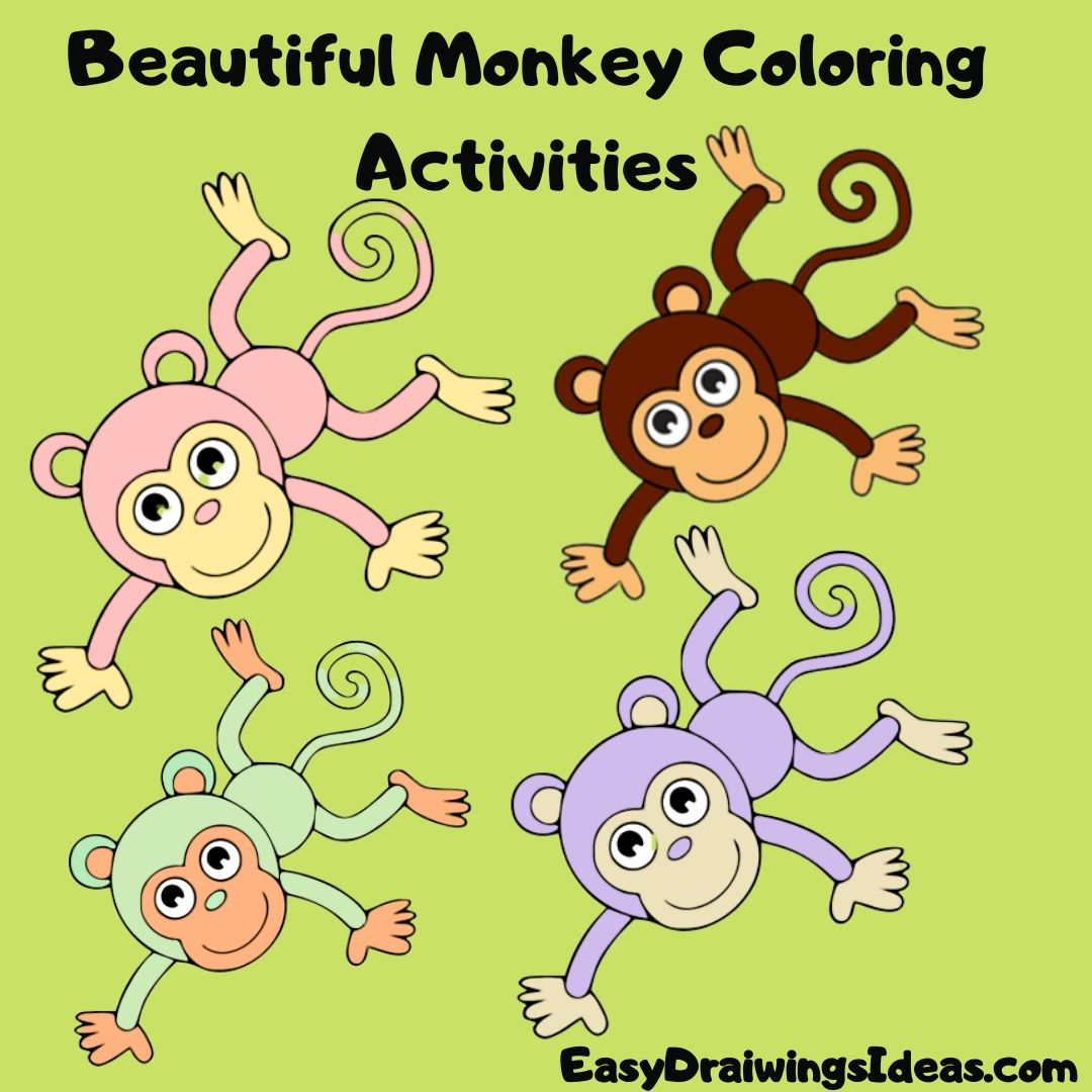 How to draw a monkey for kids Beautiful Monkey Coloring Activities