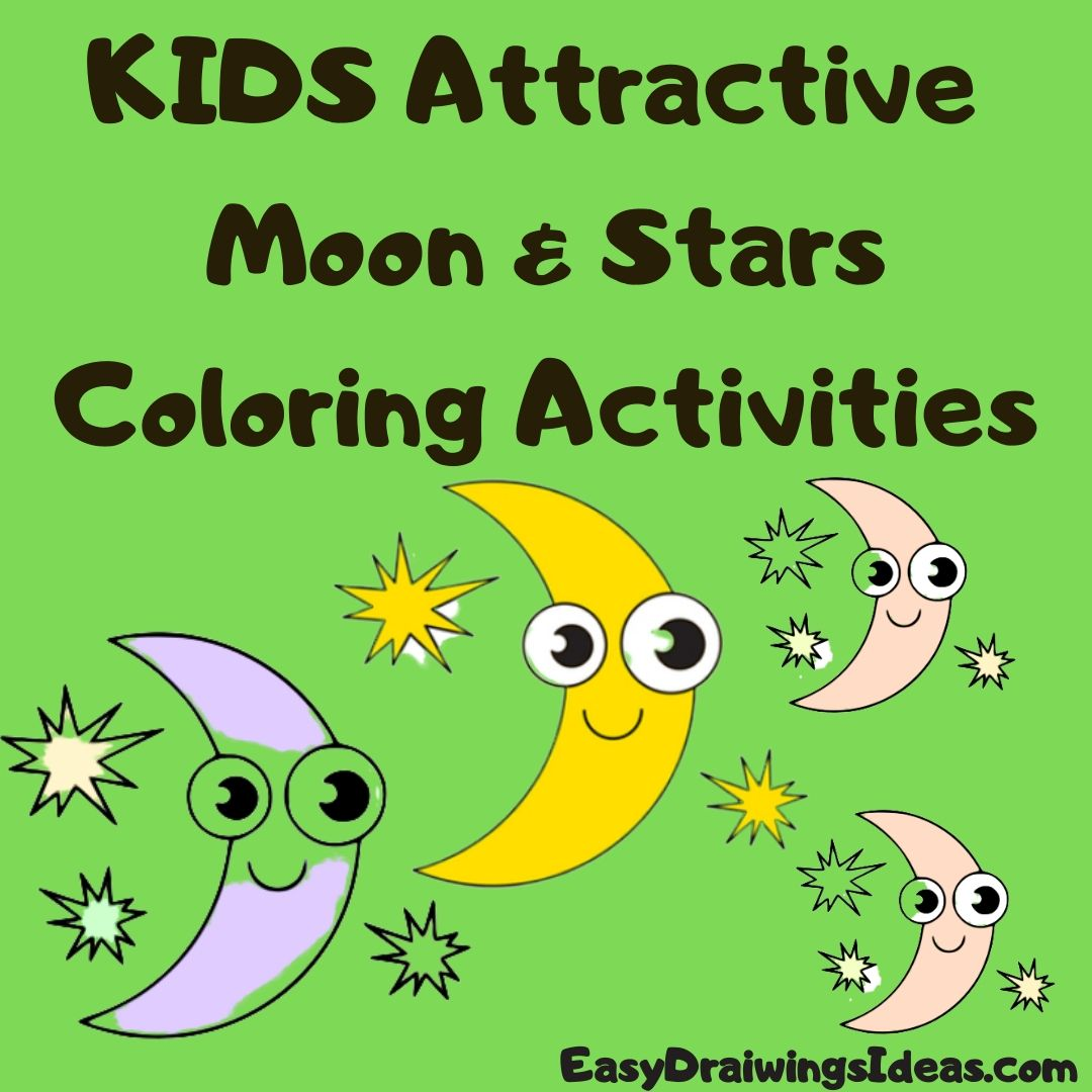 How to draw a moon and stars for kids Beautiful moon Coloring Activities