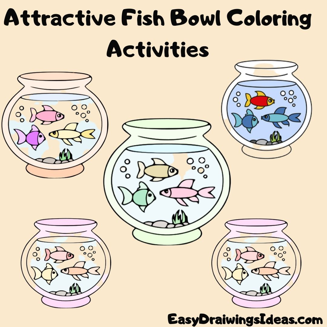 how to draw a fish bowl