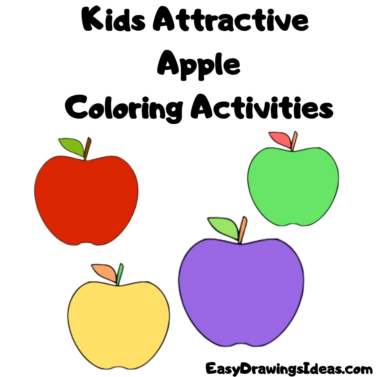Kids Attractive Apple Coloring Activities FOR KIDS STEP BY STEP
