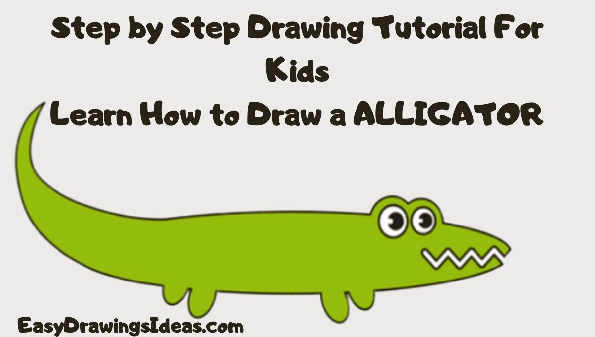 how to draw an alligator for kids - cartoon alligator drawing