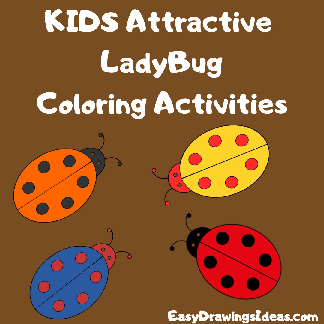 Step by Step easy ladybug drawing for kids - cartoon little ladybug drawing